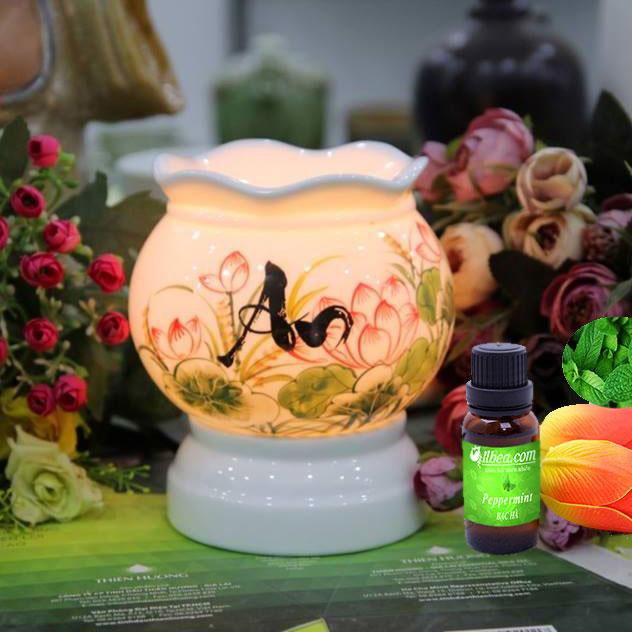 Đèn xông tinh dầu điện chữ AN thư pháp và hoa sen