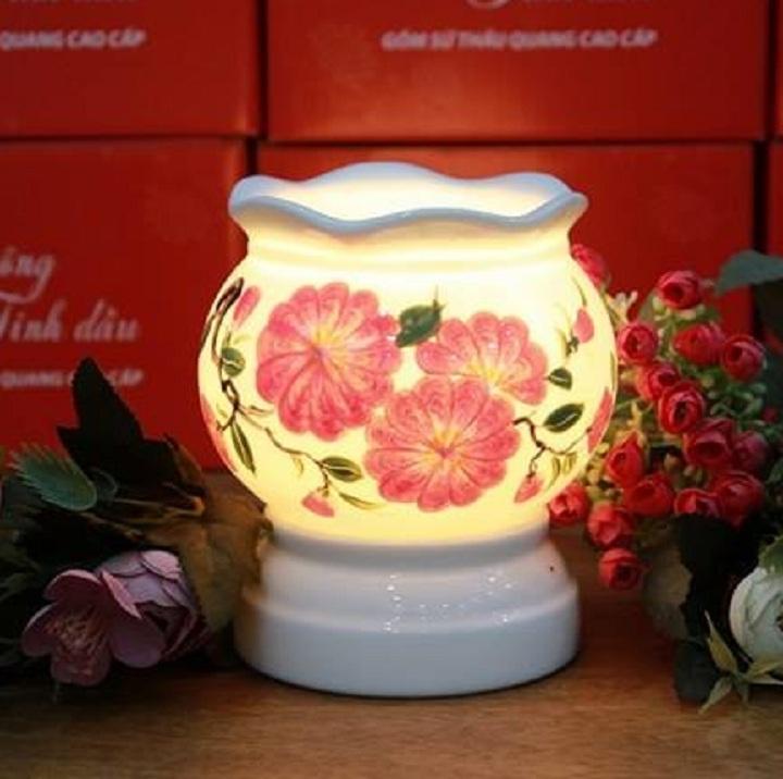 Đèn xông tinh dầu điện loại lớn hoa hồng