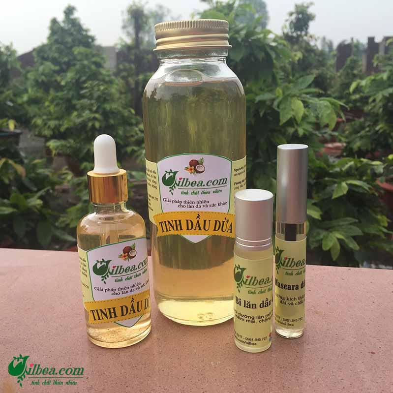 Combo dầu dừa 300ml, mascara, lăn môi dưỡng ẩm