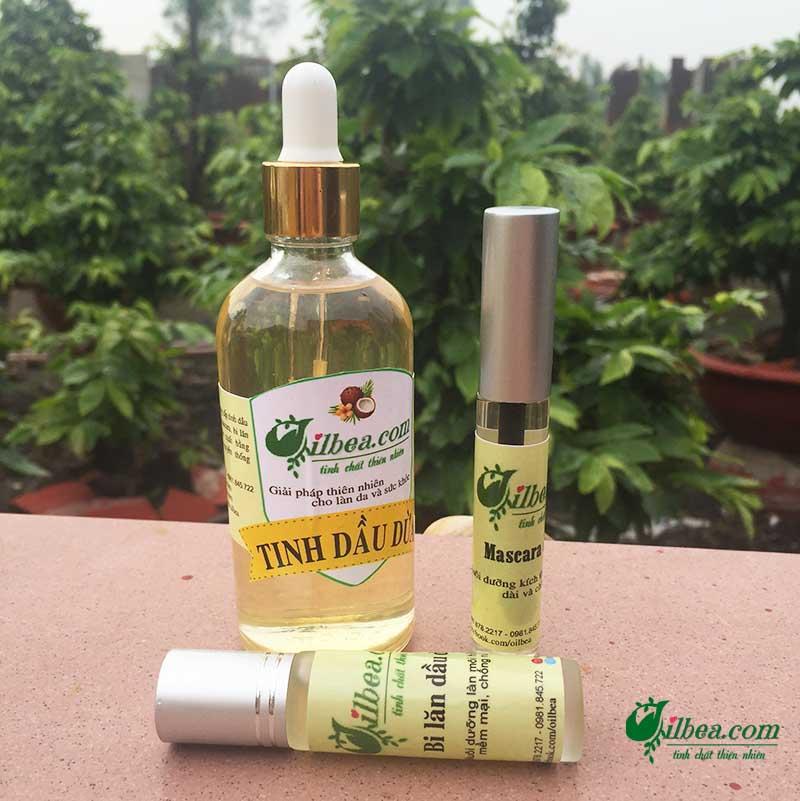 Combo dầu dừa 100ml, mascara, lăn môi dưỡng ẩm