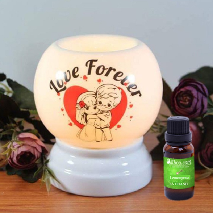 Đèn xông tinh dầu love forever (cỡ lớn) + tinh dầu SẢ CHANH 10ml + bóng đèn sơ cua