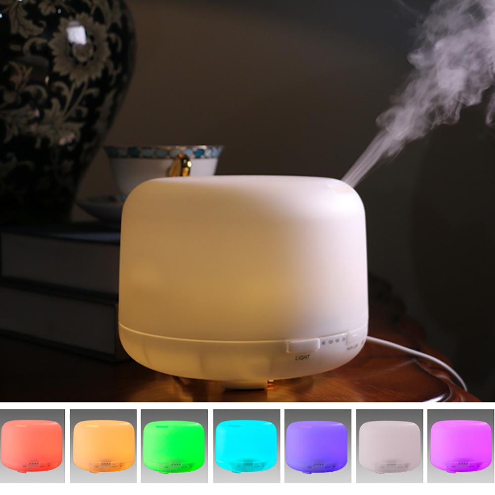 Máy xông tinh dầu phun sương tạo ẩm 500ml + 2 tinh dầu bạc hà 10ml và tinh dầu sả chanh 10 ml